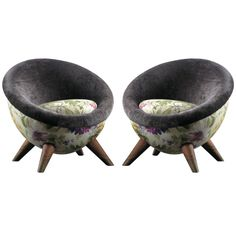 Jean Royère velvet, floral egg chairs