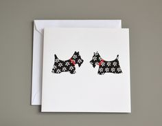 Two Black and White Scottie Dogs Blank Card £2.50