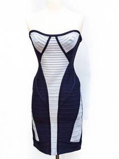 Herve Leger  Size L Navy Strapless Dress- everyone needs a bandage dress, right?