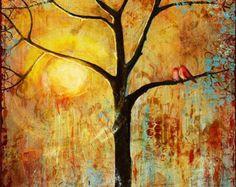 Tree Print Red Love Birds, for Couples Gift, Lovebirds Print, Sunshine, Sunny, Romantic, Inspiring,Sunset   Various Sizes