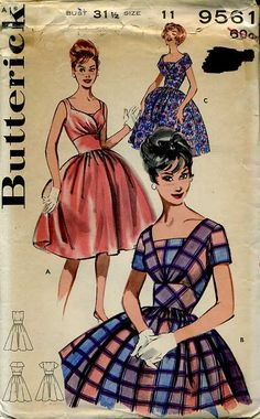 Butterick 9561 circa 1960 dress
