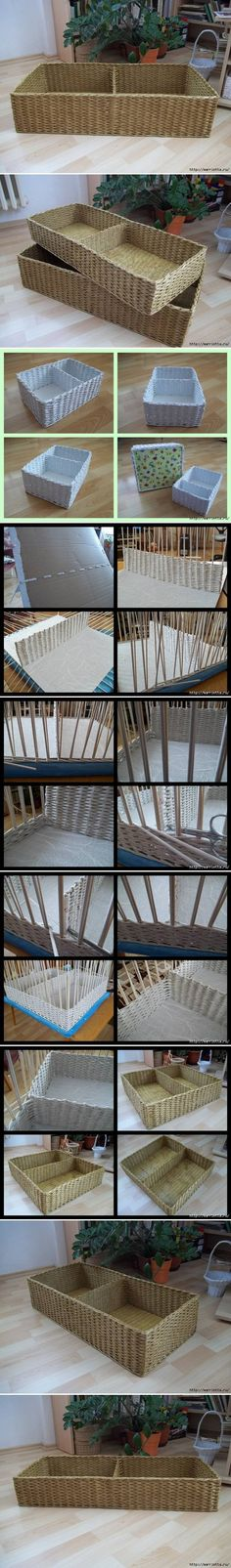 DIY Newspaper Basket with Compartments Follow Us on Facebook -->> http://www.facebook.com/UsefulDiy