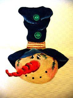 Natale country painting - pupazzo di neve con un grande cappello