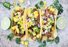 Slow Cooker Chipotle BBQ Beef Tacos with Mango Salsa