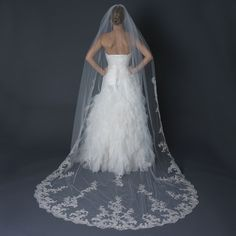 Regal Floral Lace Embroidery Cathedral Length Wedding Veil - just gorgeous! Affordable Elegance Bridal -