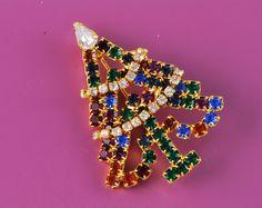 Austrian Crystal Rhinestone Christmas Tree Pin  $20.00  Vintage Austrian Crystal  Christmas Tree Pin  45MM in height