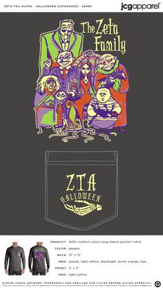 Zeta Tau Alpha Halloween Sisterhood Shirt | Sorority Halloween Sisterhood | Greek Halloween Sisterhood #zetataualpha #zeta #zta #halloween #sisterhood #adams #family Sigma Alpha Omega, Alpha Sigma Alpha, Greek Week, Custom Design Shirts, Custom Greek Apparel, Sorority Outfits, Sorority And Fraternity, Greek Clothing, Comfort Colors