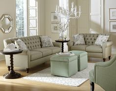England Furniture 2V00 with Hanson Mist and Ancient City Mist fabrics