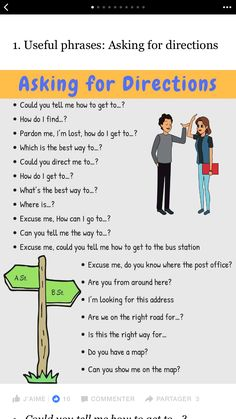 Asking for directions Learn English Speaking, Learn English Grammar, English Writing Skills, English Idioms, English Phrases, English Language Learning, English Words, English Vocabulary, Teaching English