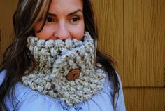 Chunky Knit Neckwarmer with Button  Oatmeal by hifiberdesigns, $30.00