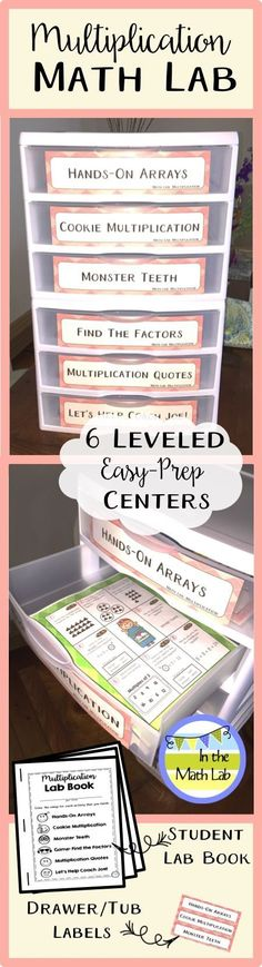 Six LEVELED math centers for your guided math rotations. Easy prep! These centers use plastic page protectors - no cards or little pieces to laminate. A student Lab Book has response pages for each center. Plus, Bonus EXTRAS: drawer or tub labels in color or b/w for easy organization.