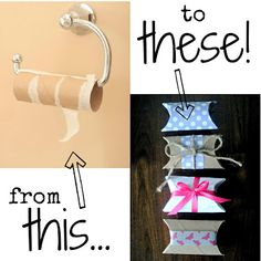 Upcycle an empty toilet paper roll --> a gift box!  @Leann T T T T T T Barker don't throw those toilet paper rolls away!!! LOL!