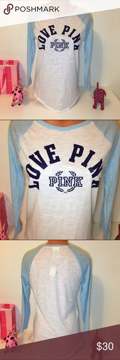 NEW PINK VS BASEBALL TEE SHIRT NWT PINK VICTORIA'S SECRET BASEBALL 3/4  SLEEVE SHIRT WITH FRONT LOGO.  COLOR LIGHT BLUE/WHITE SIZE S  FAST SHIPPING!!! ✅   Check out my other items! I am sure you will find something that you will love it! Thank you for watch!!!!! Be sure to add me to your favorites list! PINK Victoria's Secret Tops Tank Tops