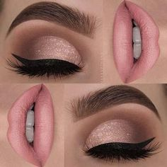 Soft Pink Lips + Glitter Eyes #softpinklips
