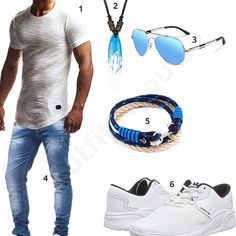 Cooles Herren-Outfit mit Surfer-Anhänger (m0367) #outfit #style #fashion #menswear #mensfashion #inspiration #shirt #cloth #clothing #männermode #herrenmode #shirt #mode #styling #sneaker #menstyle