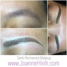 Client naturally has a lot of brows but unshaped. Shape was a bit round so I reshaped it.  Hope you like it!!:) Hairstroke Eyebrow Embroidery (Semi-Permanent Makeup)  www.JoanneHinh.com