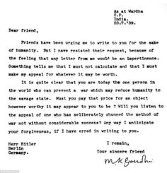 """Gandhi' s letter to Hitler written just over a month before conflict broke out across Europe. The world """"deliberately"""" is mistyped -- s and d letter keys are adjacent in QWERTY."""