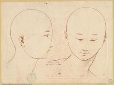 Principes du dessin : étude de têtes par Gilles Demarteau