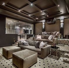 Luxury homes · home theater rooms, home theater design, cinema room, game room, barbie dream Cinema Room Small, Home Cinema Room, Home Theater Rooms, Home Theater Design, Basement Bar Plans, Basement Bar Designs, Basement Ideas, Small Dream Homes, Luxury Homes Dream Houses