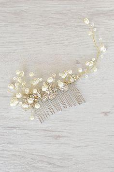 Wedding Pearl Hair Piece Gold Vine hair от OnlyHandmadeJewelry