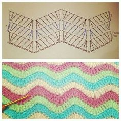 Crochet pattern- the link doesn't work but the pattern is helpful Punto Zig Zag Crochet, Chevrons Au Crochet, Crochet Ripple, Crochet Diy, Crochet Motifs, Crochet Diagram, Crochet Stitches Patterns, Crochet Chart, Love Crochet