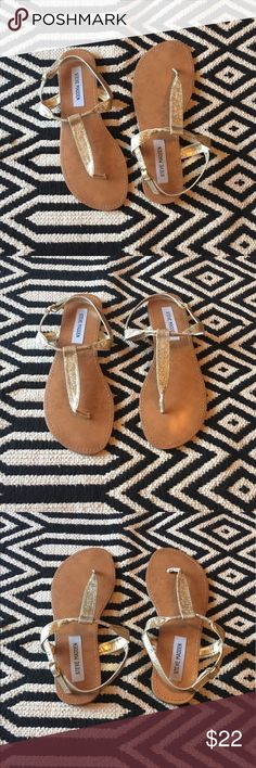 Steve Madden gold sandals Great condition. Steve Madden gold sandals. Size: 8. Leathe insole, balance man made  materials. Steve Madden Shoes Sandals