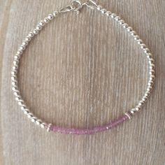 Pink Sapphire Sterling Silver Bead Ball Bracelet, Pink Sapphire Bracelet…