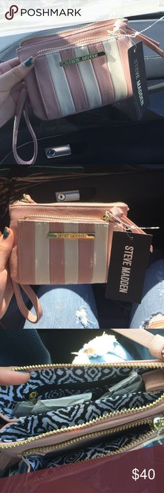 Steve Madden wallet/phone case **AUTHENTIC*** brand new. 2 zippers, phone slot and credit card space. Coin pocket. Light pink with gold detailing on the outside inside is black and white beautiful pattern. Steve Madden Bags Wallets
