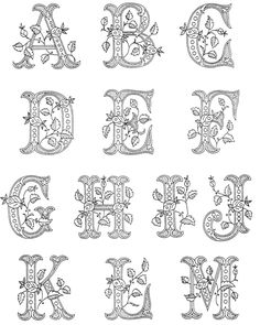 Detailed ethnic alphabet, every letter is unique, and some addition. Fancy Letters, Monogram Letters, Bubble Letters, Embroidery Letters, Hand Embroidery, Colouring Pages, Coloring Books, Quilling Designs, Art Quilling
