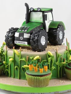 Tractor Birthday Cakes, Twin Birthday Cakes, Birthday Bbq, Tractor Cakes, Graham Cake, Farm Cake, Garden Cakes, Colorful Cakes, Novelty Cakes
