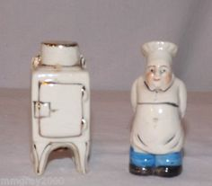 Vintage Chef with Refrigerator Ice Box Salt and Pepper Shaker Set