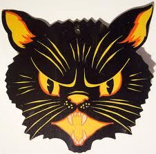 vintage halloween cat decoration