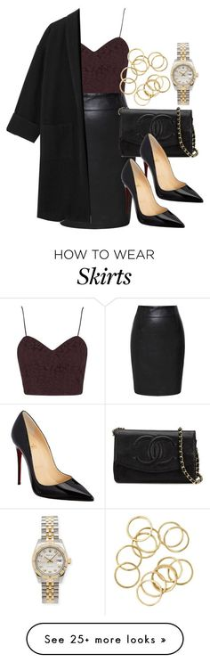Style #9512 by vany-alvarado on Polyvore featuring Topshop, Prabal Gurung, Chanel, Christian Louboutin and Rolex