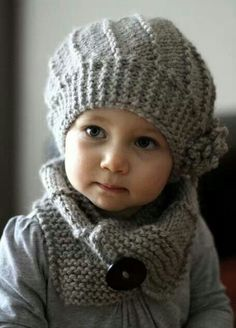 Knitting Patterns Yarn Cool Wool Hat and Cowl Set - Knit Hat Pattern Knitting For Kids, Baby Knitting, Crochet Baby, Knit Crochet, Free Knitting, Crochet Shawl, Baby Hat Knitting Pattern, Knitted Hats Kids, Beginner Knitting
