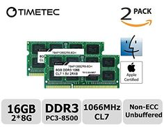 Timetec Hynix IC Apple 16GB Kit (2x8GB) DDR3 PC3 8500 1066MHz Memory Upgrade for MacBook Pro 13-inch(Mid 2010),  Mac Mini Mid 2010 and More