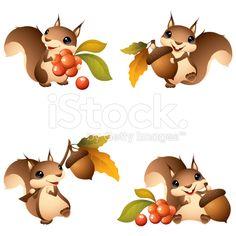 Cartoon graphics of squirrel with acorn or berries stock vector ...