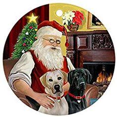 CafePress - Santa's Yellow + Black Labs Ornament (Round) - Round Holiday Christmas Ornament