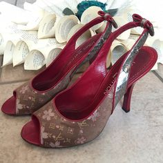 "Louis Vuitton Red Murakami Cherry Blossom Heels Authentic Heels by LOUIS VUITTON Size 37 1/2. Limited Edition Satin Murakami Cherry Blossom Peep toes Slingbacks with bows Made in Italy. Heels are 4 1/4"" high. Right heel has some scuffs/scratch marks; see photos No box and no dust bags. Worn. If you need additional photos please let me know. #BR0063 Louis Vuitton Shoes Heels"