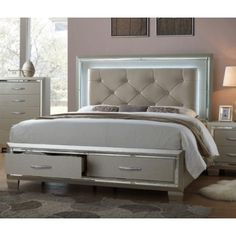 The Glamour queen storage beds champagne finish is accented by a decorative mirror trim . Chrome nail heads and faux leather are used in its high fashion diamond upholstered headboard.  Enjoy this collections mood lighting featured in the headboard.