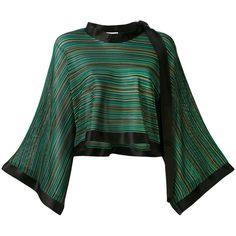 Sonia Rykiel flared sleeve blouse (€1.060) ❤ liked on Polyvore featuring tops, blouses, green, green top, multicolor blouse, flared sleeve top, multi color blouse and flared sleeve blouse