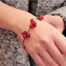 SL030 Vintage Cherry Bracelets Bangles Women Fashion Jewelry Beads Charm Bracelet Free shipping(China (Mainland))