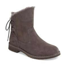 Women's Ugg Naiyah Lace-Back Genuine Shearling Boot (112.690 CLP) ❤ liked on Polyvore featuring shoes, boots, ankle booties, charcoal nubuck leather, ugg boots, shearling booties, short shearling boots, fitted boots and bootie boots