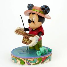 """Looks like Mickey might be having a light fishing day. """"I WOULD RATHER BE FISHING"""" - MICKEY MOUSE FIGURINE (Jim Shore Disney Traditions)"""