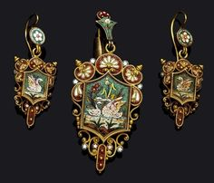 A suite of gold, enamel and micromosaic jewellery, c. 1870.