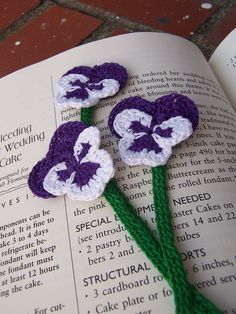 BookMark, Crocheted, Pansy, Purple and White. $2.25, via Etsy.