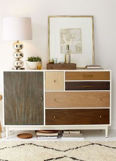 Patchwork Dresser from west elm - DIY idea with wood veneer + stains