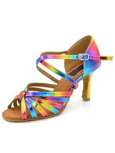21bf2443040 Multicolor Dance Shoes High Heel PU Open Toe Criss Cross Ballroom Shoes