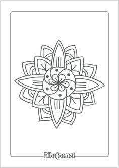 Imprimir dibujo de Mandala para colorear - Flor sencilla