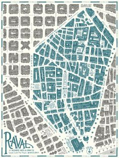 Design and illustration of the map of the Raval quarter in Barcelona for the project Walk With Me . Urban Mapping, Walking Map, Barcelona Architecture, Urban Analysis, Map Globe, Map Design, Graphic Design, Vintage Maps, City Maps