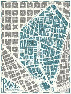 Map of Barri Raval, Barcelona byReskate Studio for Walk With Me #map #barcelona